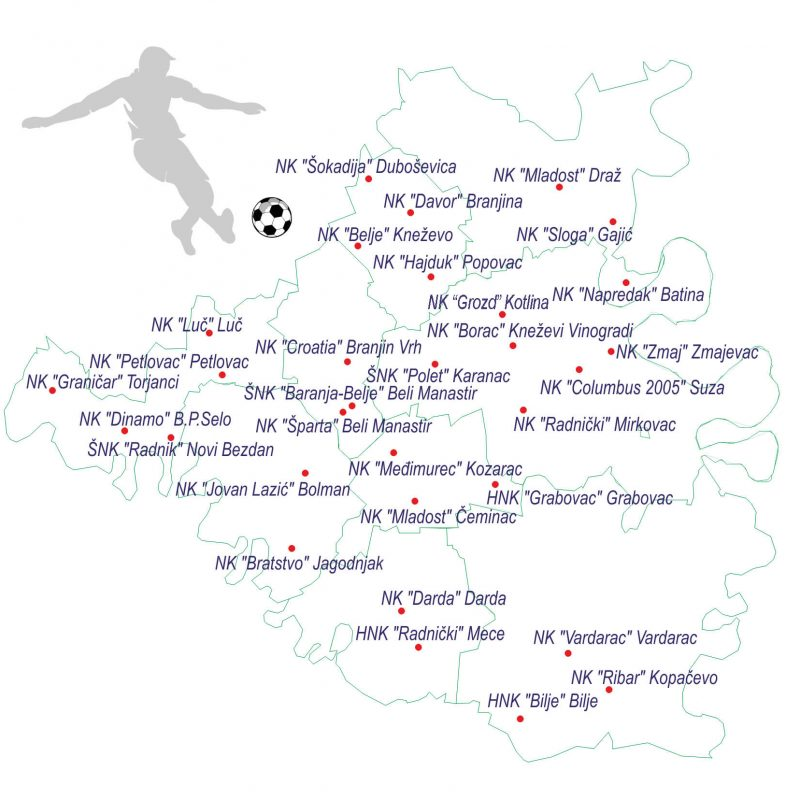 nogometni klubovi Baranja, NSBM, Nogometno središte Beli Manastir (Bilje, Darda, Kneževi Vinogradi, Draž, Popovac, Petlovac, Jagodnjak i Čeminac) i jednim gradom, Beli Manastir.
